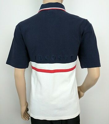 Lacoste Mens Polo Shirt Blue White Spell Out Vintage Sz 7 UK L Golf Tennis