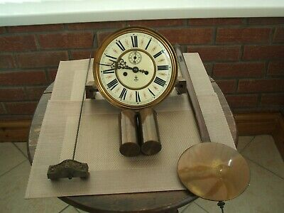 Gustav Becker Double Weight Wall Clock Movement And Parts