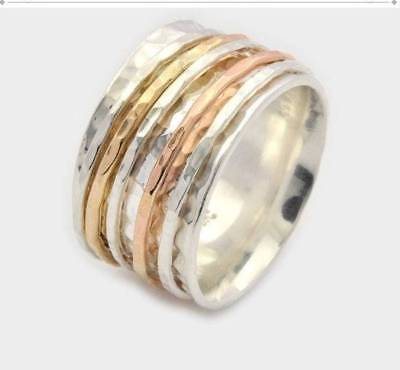 Solis 925 Sterling Silver Band Spinner Ring Jewelry Handmade Size-6 ASHU-679