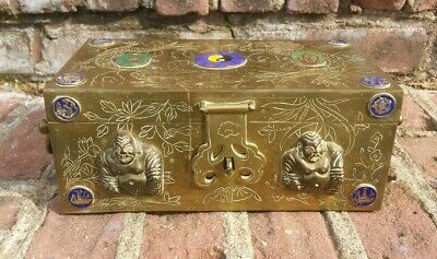 Antique Chinese Brass Carved Dragon Wood Cigar Buddha Enameled Trinket Box NICE!