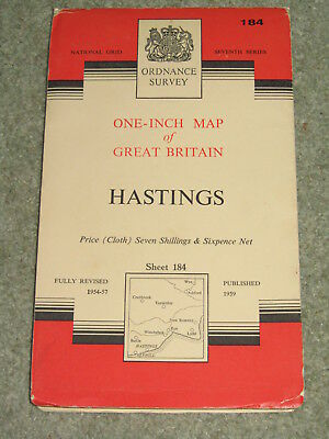 """OS Ordnance Survey 1"""" Seventh Series -  Sheet 181 Chichester - on cloth"""