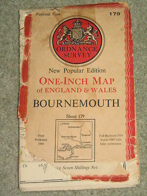 "OS Ordnance Survey 1"" 1946 New Popular Edition sheet 179 Bournemouth - on cloth"