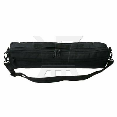 13x6x41cm Padded Flute Bag Carrying Case Cover with Shoulder Strap Deep Black