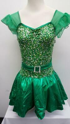 DANCE COSTUME SMALL Adult Green Sequin Dress Jazz Tap Clogging Solo