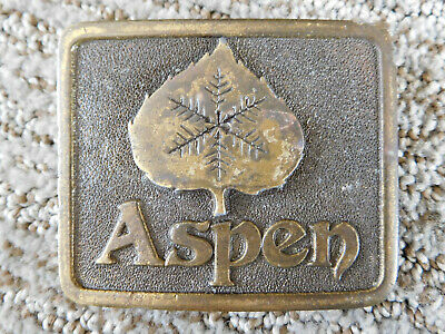 Vintage 1975 ASPEN with Leaf BELT BUCKLE Solid BRASS Adezy DENVER Colorado
