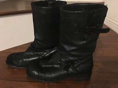 9c72ce3667e JIMMY CHOO Black distress Leather Biker Boots with Rabbit Fur Lining Size  36 1/2