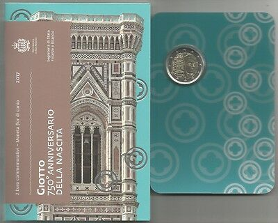 """SAN MARINO - 2 Euro comm. 2017 """"Giotto"""" FDC in blister"""