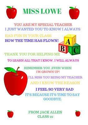 Thank You Teacher Gift  Childminder TA Assistant Head Personalised A4 Gifts
