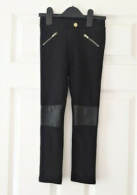 VGC Girls H&M black faux leather knees trousers pants size 5-6 Years