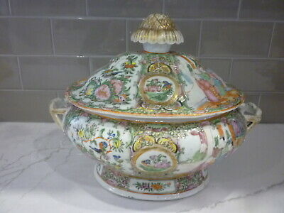 Chinese Export Rose Meadllion Tureen 19Thc