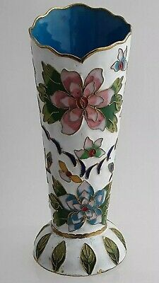 Beautifully enamel painted white metal Vase possibly cloisonne