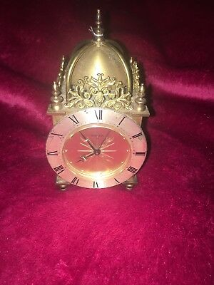 Rare Vintage Brass Swiza 8-Day Alarm Miniature Clock  Travel Clock. Swiss Made