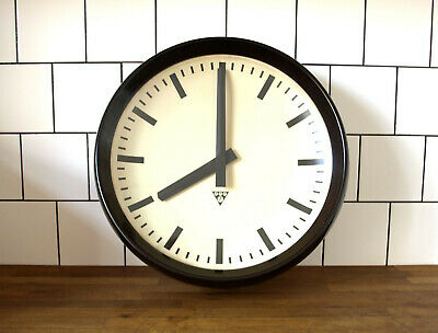 LARGE running old Pragotron wall clock Factory - BAKELITE- vintage industrial