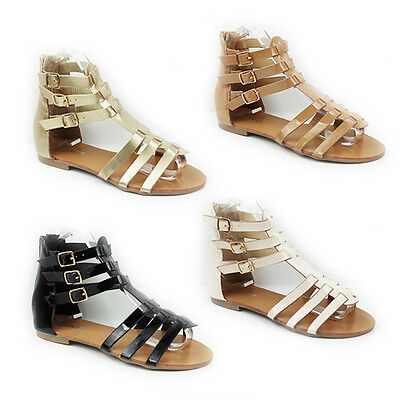 Womens Summer Flat Strappy Gladiator Style Ankle Sandals Ladies Shoes Size 3-8