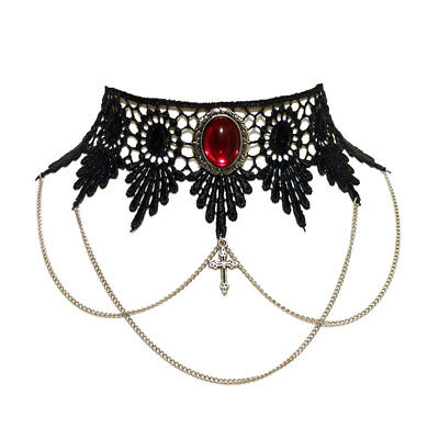 Ruby red gothic choker necklace lace draped chains steampunk wedding goth