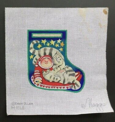 "Maggie Co./Erika Oller Hand-painted Needlepoint Canvas Small Stocking ""Sledding"""