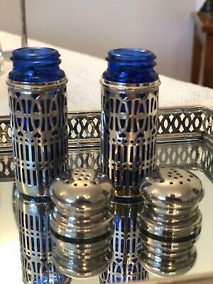 Vintage Salt and Pepper Shakers Silver plated with Cobalt Blue Inserts