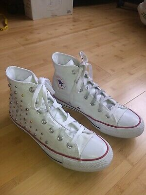 Converse Chuck Taylor Women's High Top Sneakers, Size 8 with Gold & Silver Studs
