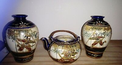 A Pair Of Satsuma Vases And Teapot With Handed Handpainted Samurai In Gold Gild.