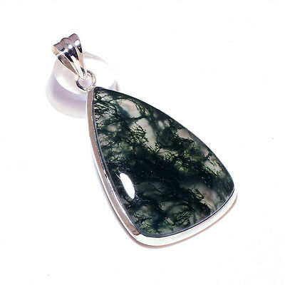 HUGE GREEN MOSS AGATE PEAR 925 Sterling Silver Pendant 2.1'' FREE SHIPPING