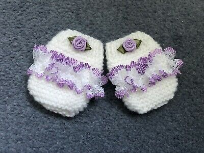 New - Handknitted - Newborn Mittens - White With Lilac Lace