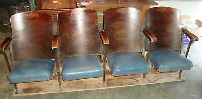 "Antique Cast Iron Wood Theater Seats Chairs Vintage ""American Seating"""
