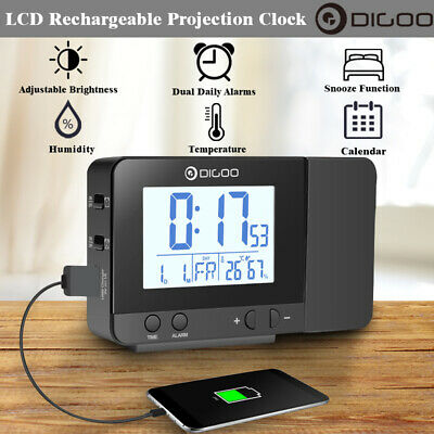 LCD Rechargeable Projection Clock Projector Dual Alarm Temperature Humidity