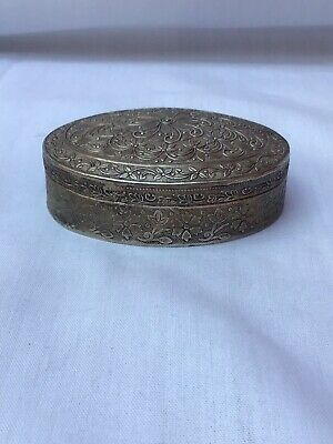 A Vintage Middle Eastern Oval Engraved Silver Plated Trinket Box