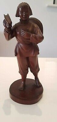 A Superb Chinese Republic Carved Boxwood Wood Wooden Figure Of A Lady Girl