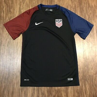 b6e0f3aa01c NIKE DRI-FIT USA soccer 2016 Men's Jersey Small Black Blue Red excellent  used