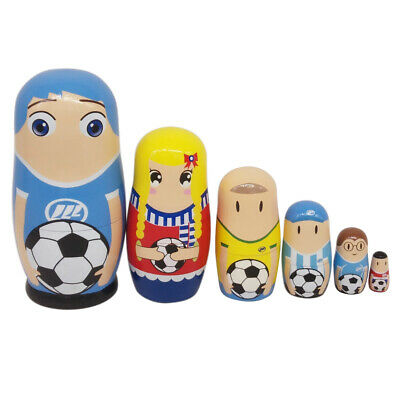 6pcs Russian Wooden Nesting Dolls Football Player, Biggest Height 5.71in