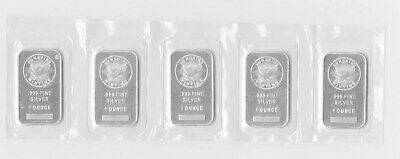 (5) Sealed Sunshine Minting 1 Troy Ounces oz .999 Fine Silver Bar