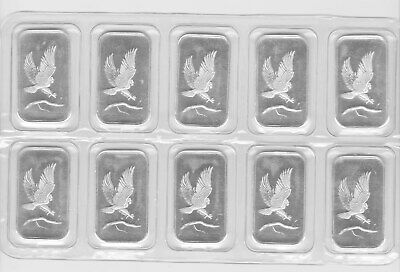(10) Sealed SilverTowne Eagle Silver 1 Troy Ounces oz .999 Fine Silver Bars