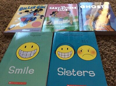 Lot 5 Smile Sisters Ghost Raina Telgemeier Books Roller Girl Baby Sitters Club