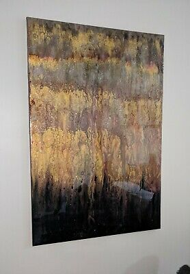 """Contemporary Abstract Acrylic Painting on Canvas 24""""x36"""" with High Gloss Resin"""