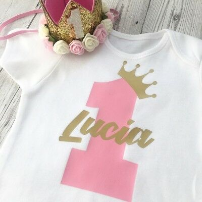 Personalised First Birthday Baby Girls 1st Vest Outfit One (tutu & Hat Not Inc)
