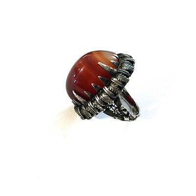 Antique Sterling Silver Ring With Large Agate,Hand Made In 1920S. Very Atrictive