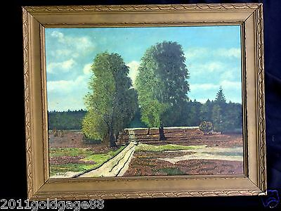 Antique Oil Painting Landscape,Created In 1940S,Painted On Board.signed.