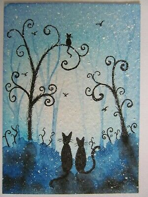 ACEO Original Watercolor Black Cats Birds Whimsical Trees Blue Christine Danner