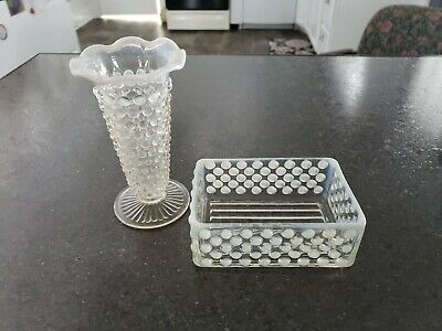 Vintage Fenton Opalescent Hobnail Small Bud Vase and Square Dish