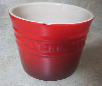 Le Creuset Stoneware Butter Crock /Canister Cherry Red (Cerise) No Lid~Ex Cond