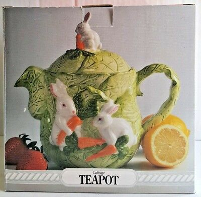 """White Bunnies W/Carrots on Cabbage Teapot - Home Trends """"Springtime""""-NIB"""