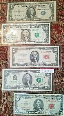5 Note Lot $1 Blue Seal $1 *STAR* Note $2 - 1976 Note $2 Red Seal $5 Red Seal