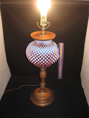 Vintage Fenton Cranberry Opalescent Hobnail Glass Table Lamp Wood Stand 25in
