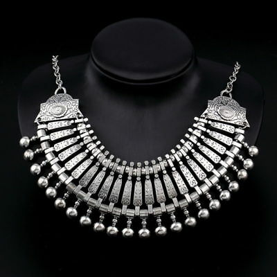 Bohemian Ethnic Tribal Silver BIB STATEMENT NECKLACE Sexy Boho Coachella Jewelry