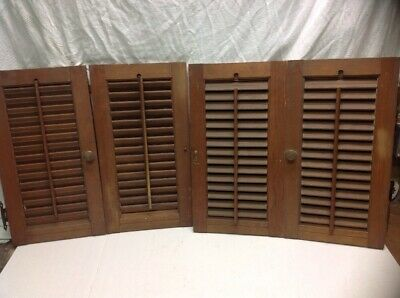 "VINTAGE INTERIOR WINDOW SHUTTERS  Stained LOUVERED 40"" wide X 20""H"