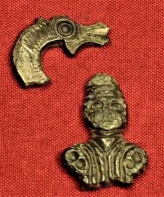 Lot of 2 Ancient Roman Artefacts - Human Bust and Animal Head - 2. Century
