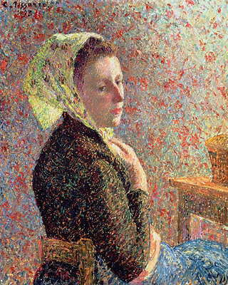 Art Oil painting young woman portrait seated by table with scarf Hand painted