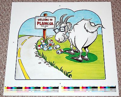 BILLY CARTER Goat Beer Parody PROOF Poster Plains Georgia 1979 Jimmy President