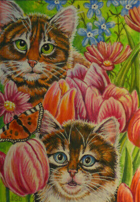 ACEO Original handpainted Art Tabby Cat tulips SPRING nature butterfly moth